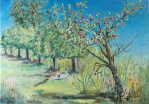 Boomgaard met perenboom
